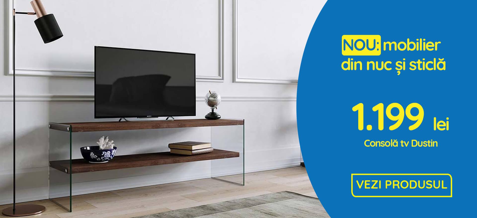CONSOLA TV DUSTIN,120X35X45 CM,NUC,CADRU STICLA SECURIZATA,POLITE LEMN SOLID