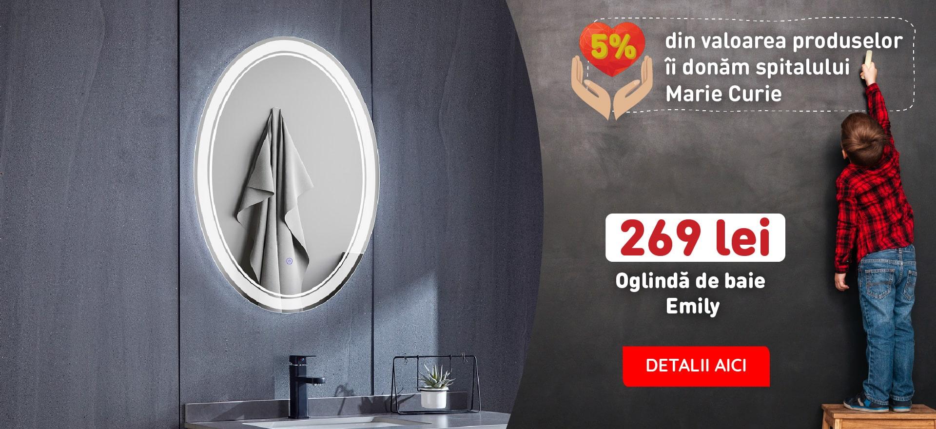 OGLINDA BAIE EMILY, OVALA, 60X80 CM, ILUMINARE LED