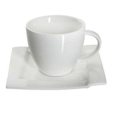 SET CAFEA/CEAI 12 PIESE,PORTELAN,CEASCA 220 ML + FARFURIE,ALB,KUBIKO