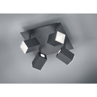 SPOT LAGOS, 25X25 CM, 1 X SMD LED, 6 W, 4X550 LM, 3000 K, METAL, NEGRU MAT