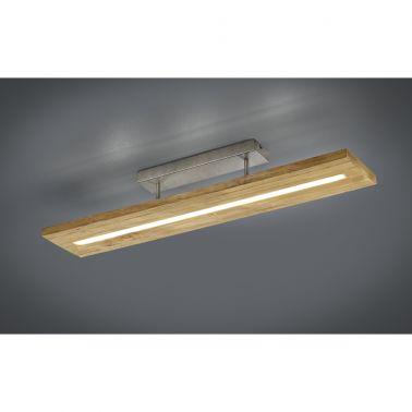 PLAFONIERA BRAD, 100X20 CM, 1 X SMD LED, 27 W, 3000 LM, 3000 K, LEMN/METAL, NATUR/GRI