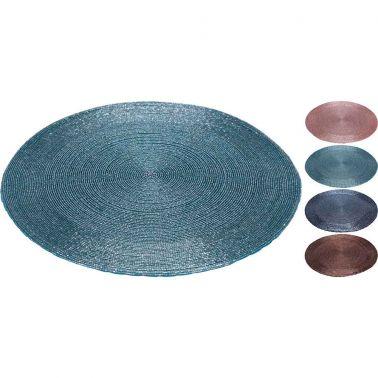 PLACEMAT SHINE 35 CM, TEXTIL/STICLA, DISPONIBIL IN 4 CULORI: ROZ/TURCOAZ/ALBASTRU/MARO