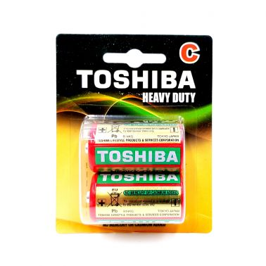 SET 2 BATERII ZINC TOSHIBA R14, HEAVY DUTY, C, 1.5 V
