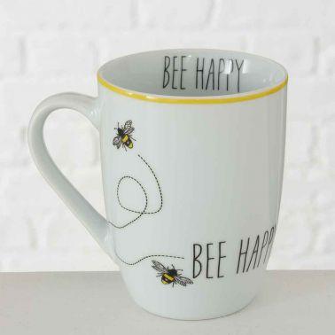 CANA CAFEA/CEAI BEE HAPPY,PORTELAN,330 ML,ALB/NEGRU/GALBEN,MODEL 1