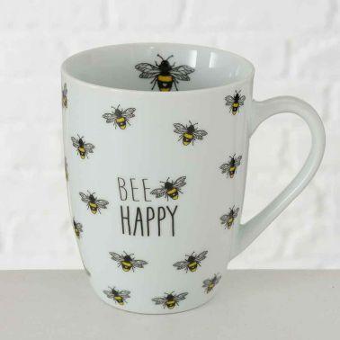 CANA CAFEA/CEAI BEE HAPPY,PORTELAN,330 ML,ALB/NEGRU/GALBEN,MODEL 2