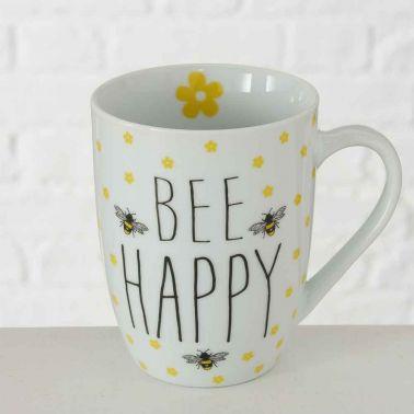 CANA CAFEA/CEAI BEE HAPPY,PORTELAN,330 ML,ALB/NEGRU/GALBEN,MODEL 3