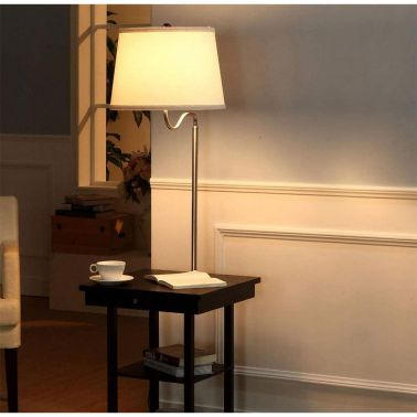 LAMPADAR CHARISSE CU MASUTA AUXILIARA, 2 PORTURI USB, 45X45X142 CM, 1XE27, 40 W, ALB/NEGRU