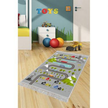 COVOR ANTIDERAPANT, DREPTUNGHIULAR,120X180, KIDS, ROUTE, MULTICOLOR, POLIESTER
