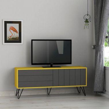 CONSOLA TV BARTON,139X36X57 CM,2 USI,GALBEN/ANTRACIT,PICIOARE METAL,PAL MELAMINAT 18 MM