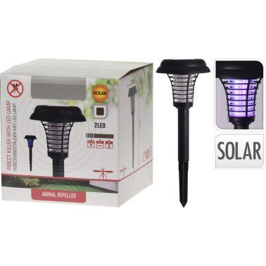 APARAT ANTI-INSECTE CU DUBLA FUNCTIONALITATE, LAMPA SOLARA LED, 2 LED-URI, 1X BATERIE REINCARCABILA 1.2 V, D 14.5 CM, H 40 CM, NEGRU