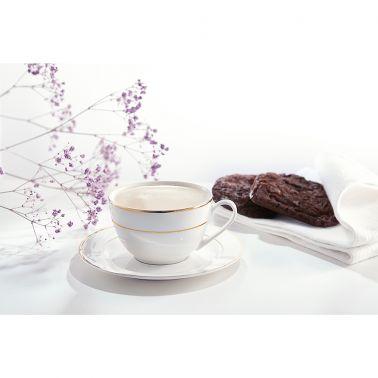 SET CAFEA/CEAI 12 PIESE,PORTELAN,CEASCA 220 ML + FARFURIE,ALB/AURIU,AURA