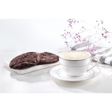 SET CAFEA/CEAI 12 PIESE,PORTELAN,CEASCA 220 ML + FARFURIE,ALB/ARGINTIU,AURA