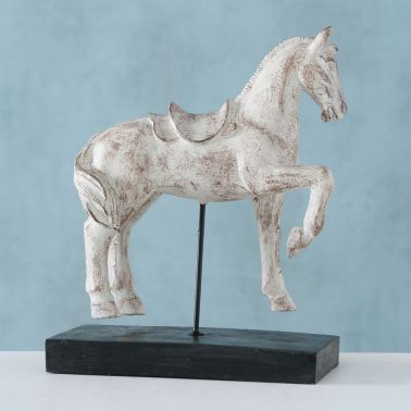 DECORATIUNE HORSE, 17X8X21 CM, POLYRESIN, BEJ/NEGRU/ALB