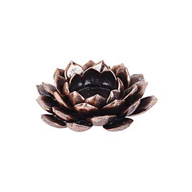 SUPORT LUMANARE LOTUS FLOWER, 12X12X3.5 CM, POLYRESIN, CULOARE CUPRU