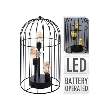 VEIOZA LED BIRDCAGE, 21.5X21.5X36.5 CM, METAL/STICLA, NEGRU