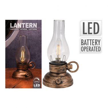 LAMPA LED DECORATIVA 10.5X13.5X20.5 CM, METAL/STICLA, CULOARE CUPRU